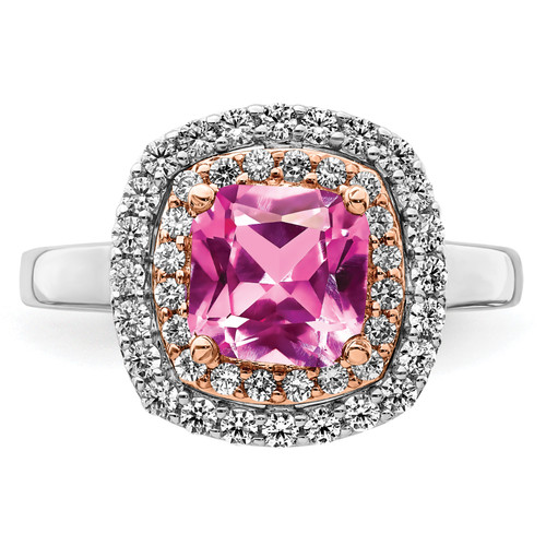 Lex & Lu 14k Two-tone Gold Lab Grown Diamond & Created Pink Sapphire Ring LAL4848-Lex & Lu