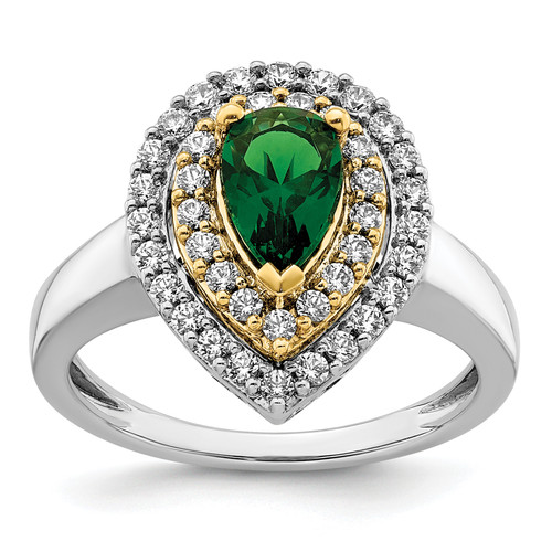 Lex & Lu 14k Two-tone Gold Lab Grown Diamond & Created Emerald Ring LAL4852-Lex & Lu