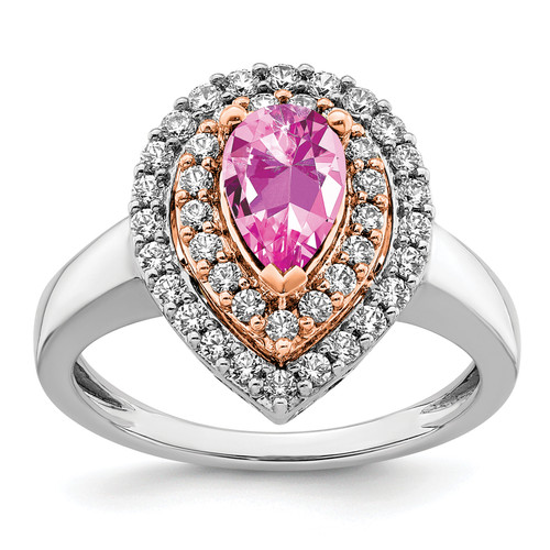 Lex & Lu 14k Two-tone Gold Lab Grown Diamond & Created Pink Sapphire Ring LAL4853-Lex & Lu