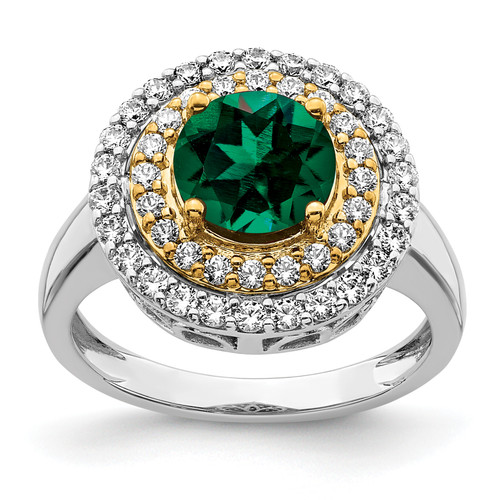 Lex & Lu 14k Two-tone Gold Lab Grown Diamond & Created Emerald Ring LAL4857-Lex & Lu