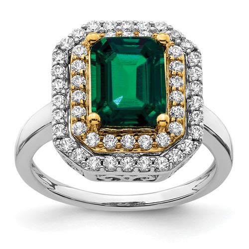 Lex & Lu 14k Two-tone Gold Lab Grown Diamond & Created Emerald Ring LAL4862-Lex & Lu