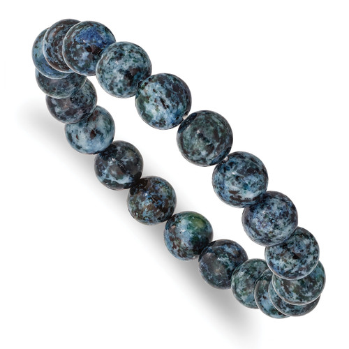 Lex & Lu Blue Agate Beaded Stretch Bracelet-Lex & Lu