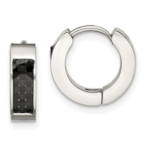 Lex & Lu Stainless Steel Polished with Carbon Fiber Inlay 4mm Hoop Earrings - Lex & Lu