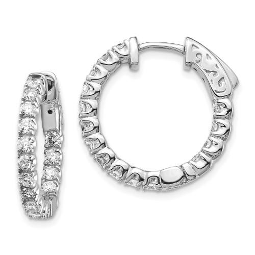 Lex & Lu 14k White Gold Lab Grown Dia SI1/SI2, Round Hoop w/Safety Earrings LAL6204-Lex & Lu