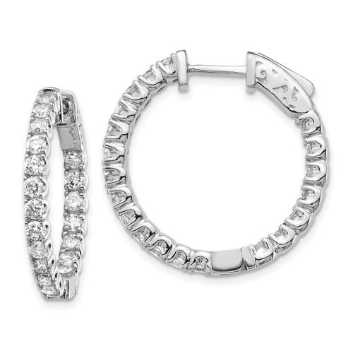Lex & Lu 14k White Gold Lab Grown Dia SI1/SI2, Round Hoop w/Safety Earrings LAL6206-Lex & Lu
