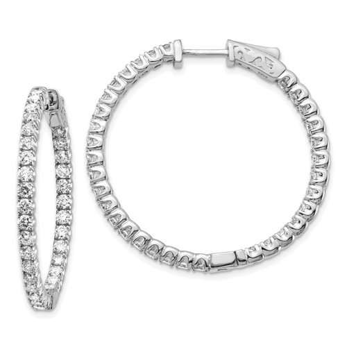 Lex & Lu 14k White Gold Lab Grown Dia SI1/SI2, Round Hoop w/Safety Earrings LAL6208-Lex & Lu