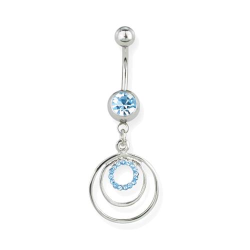 "Lex & Lu Steel Belly Ring 14 Gauge 7/16"" w/Dangle Circles Blue-Lex & Lu"