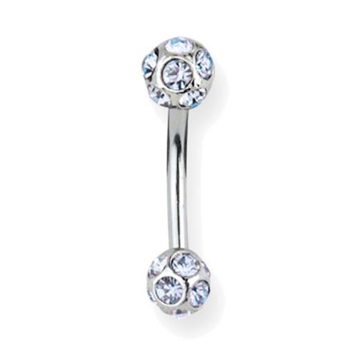 "Lex & Lu Steel Belly Ring 14 Gauge 7/16"" w/Pave Gem Dangle Blue-Lex & Lu"