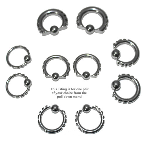 Lex & Lu Pair of Steel Cut Captive Bead CBR Ring Earrings 14G Thru 6 Gauge-2-Lex & Lu