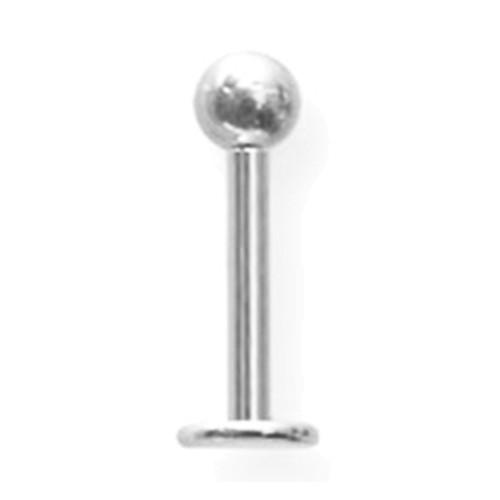 "Lex & Lu Titanium Labret 14 Gauge 3/8"" Long w/4mm Ball Uncolored-Lex & Lu"