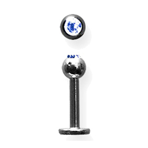 "Lex & Lu Titanium Labret 14 Gauge 5/16"" Long Black w/4mm Blue Gem Ball-Lex & Lu"