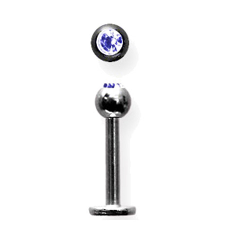"Lex & Lu Titanium Labret 14 Gauge 3/8"" Long Black w/4mm Blue Gem Ball-Lex & Lu"