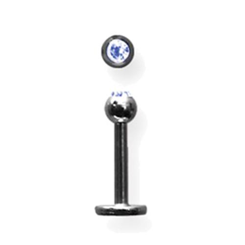 "Lex & Lu Titanium Labret 16 Gauge 5/16"" Long Black w/3mm Blue Gem Ball-Lex & Lu"