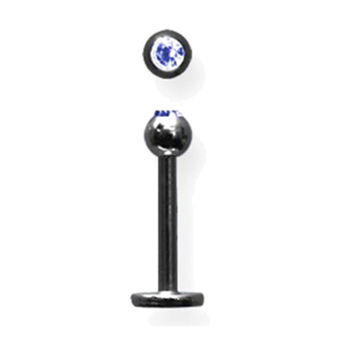 "Lex & Lu Titanium Labret 16 Gauge 3/8"" Long Black w/3mm Blue Gem Ball-Lex & Lu"