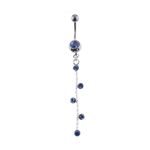 Lex & Lu Steel Gem Navel Belly Button Ring Body Piercing w/CZ Dangle-ETR167-BL-Lex & Lu