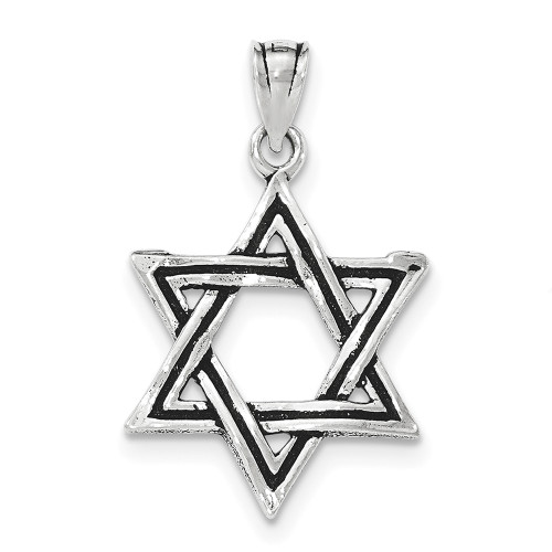 Lex & Lu Sterling Silver Antiqued Star of David Pendant LAL36105-Lex & Lu