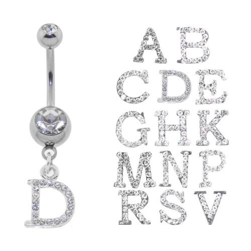 Lex & Lu Steel Gem Navel Belly Button Ring Body Piercing w/CZ Dangle-GAD101-Lex & Lu