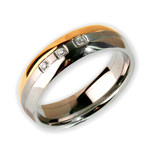 Lex & Lu Men's Choc/ Brushed/ Polished Stainless Steel w/3 Czs 6mm Band Ring-Lex & Lu