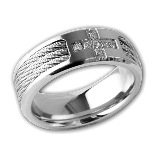 Lex & Lu Men's Stainless Steel Black Rope w/Cz Cross 8mm Band Ring-Lex & Lu