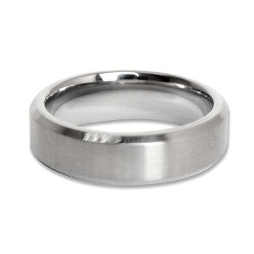 Lex & Lu Men's Brushed Finished Stainless Steel 7mm Band Ring-Lex & Lu