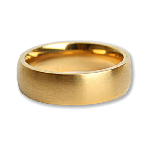 Lex & Lu Men's Brushed Stainless Steel Gold Plated 7mm Band Ring-Lex & Lu
