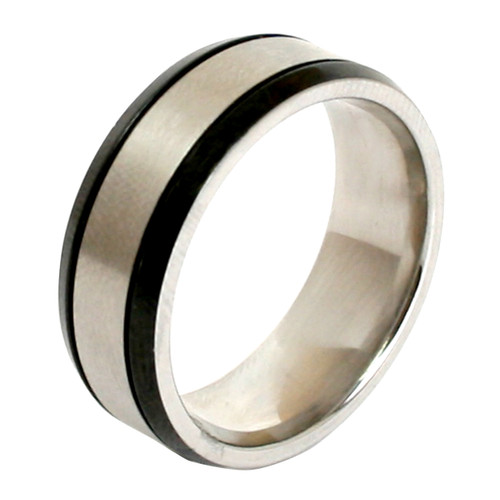 Lex & Lu Men's Stainless Steel Black Plated Trim 8mm Band Ring-Lex & Lu