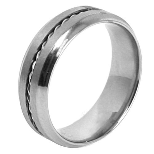Lex & Lu Men's Stainless Steel Rope Twist Accent 7mm Band Ring-Lex & Lu