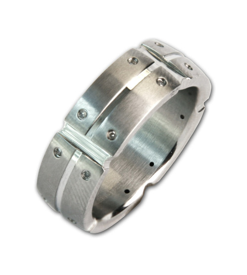 Lex & Lu Men's Stainless Steel Multi Real Diamond 8mm Band Ring-Lex & Lu