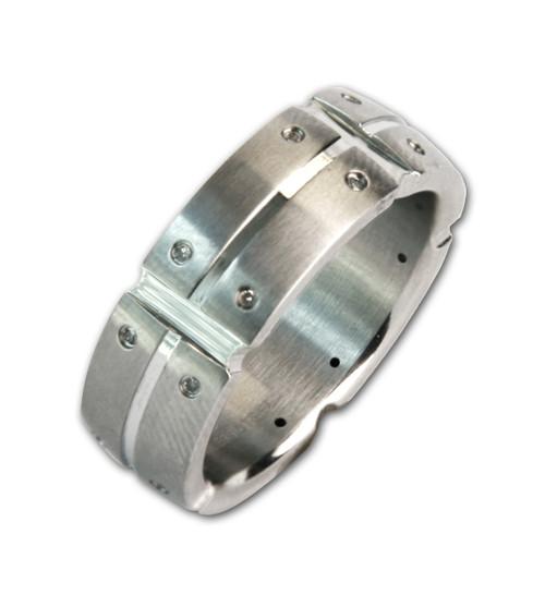 Lex & Lu Men's Stainless Steel Multi Real Diamond 8mm Band Ring-Lex & Lu