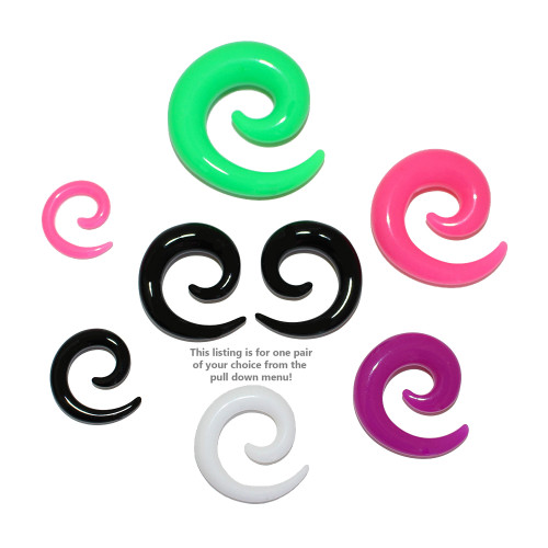 Lex & Lu Pair of Acrylic Spirals Tapers Expander Stretcher Plugs 8G Thru 00 Gauge-Lex & Lu