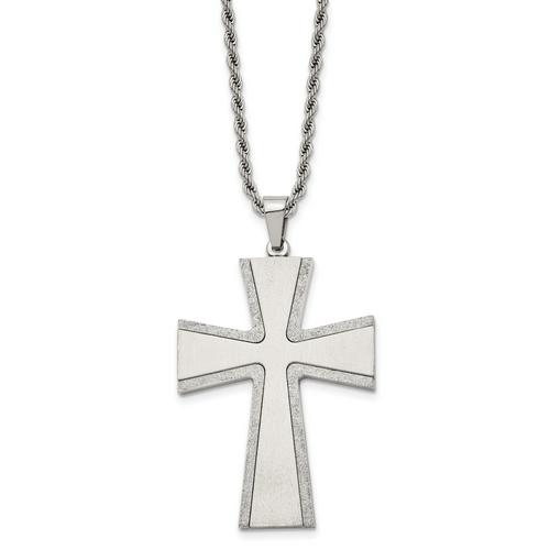 Lex & Lu Chisel Stainless Steel Laser-cut & Brushed Cross Pendant Necklace 24'' - Lex & Lu