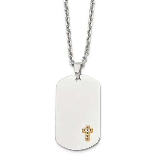 Lex & Lu Chisel Stainless Steel 14k w/Sapphires Cross Dog Tag Necklace 24'' - Lex & Lu