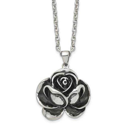 Lex & Lu Chisel Stainless Steel Antiqued Flower Pendant Necklace 24'' - Lex & Lu