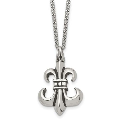 Lex & Lu Chisel Stainless Steel Antiqued & Polished Fleur de lis Necklace 18'' - Lex & Lu