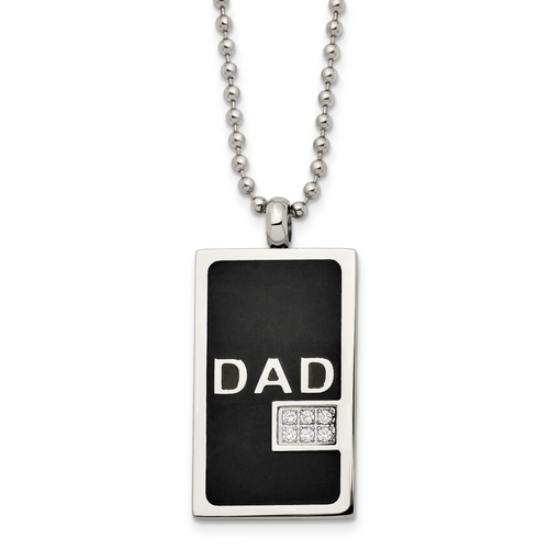 Lex & Lu Chisel Stainless Steel Black-plated & CZ Dad Dog Tag Necklace 24'' - Lex & Lu