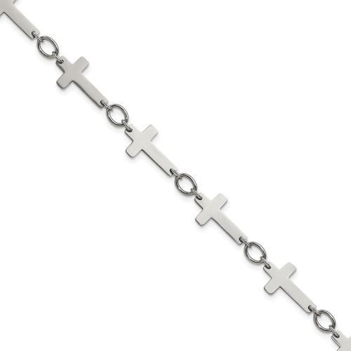 Lex & Lu Chisel Stainless Steel Polished Sideways Cross Anklet 10'' LAL41095 - Lex & Lu