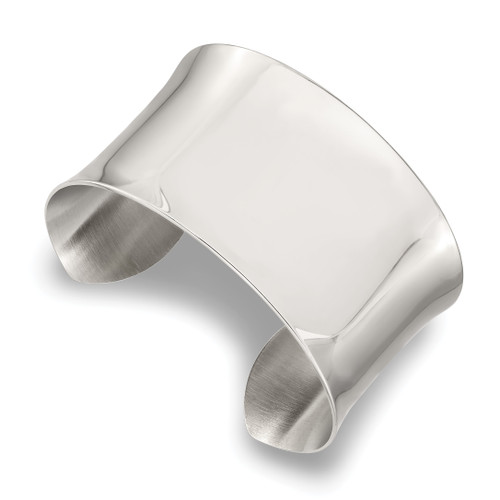 Lex & Lu Chisel Stainless Steel Polished Bangle LAL41193 - Lex & Lu