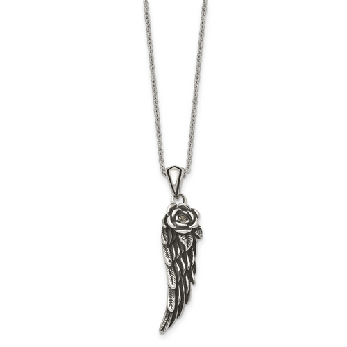 Lex & Lu Chisel Stainless Steel Antiqued & w/Crystal Wing Necklace 18'' LAL41371 - Lex & Lu