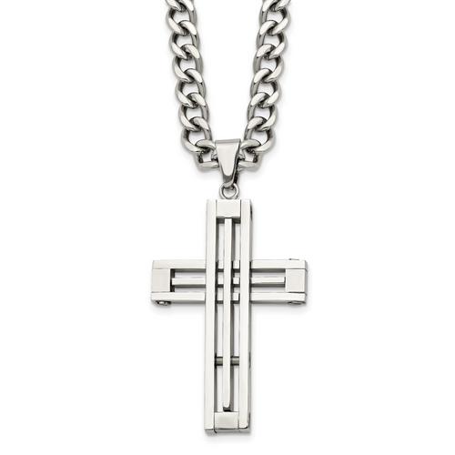 Lex & Lu Chisel Stainless Steel Cross Pendant 22'' Necklace LAL41403 - Lex & Lu