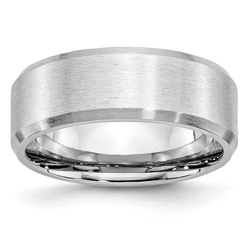 Lex & Lu Chisel Cobalt Beveled Edge Satin 8mm Band Ring - Lex & Lu
