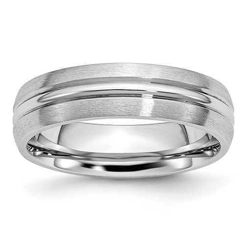 Lex & Lu Chisel Cobalt Satin and Polished Grooved 6mm Band Ring - Lex & Lu
