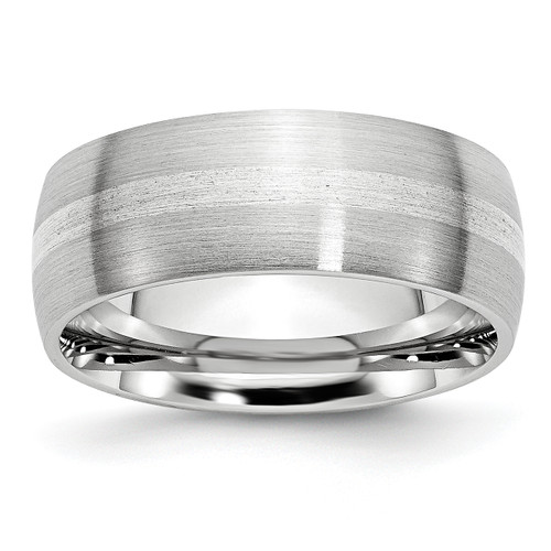 Lex & Lu Chisel Cobalt Sterling Silver Inlay Satin 8mm Band Ring - Lex & Lu