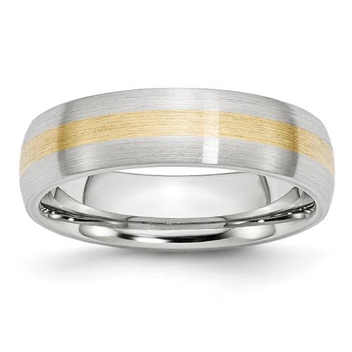 Lex & Lu Chisel Cobalt 14k Gold Inlay Satin 6mm Band Ring - Lex & Lu