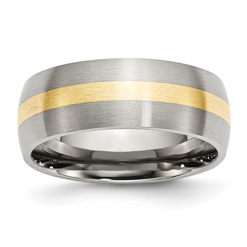 Lex & Lu Chisel Stainless Steel 14k Yellow Inlay 8mm Brushed Band Ring - Lex & Lu