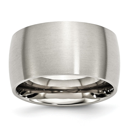 Lex & Lu Chisel Stainless Steel 12mm Brushed Band Ring - Lex & Lu