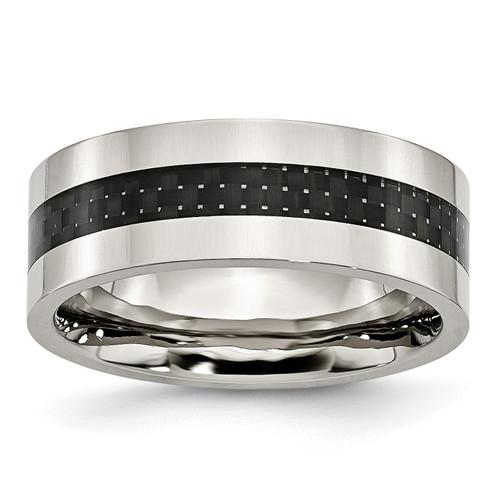 Lex & Lu Chisel Stainless Steel Black Carbon Fiber Flat 8mm Polished Band Ring - Lex & Lu