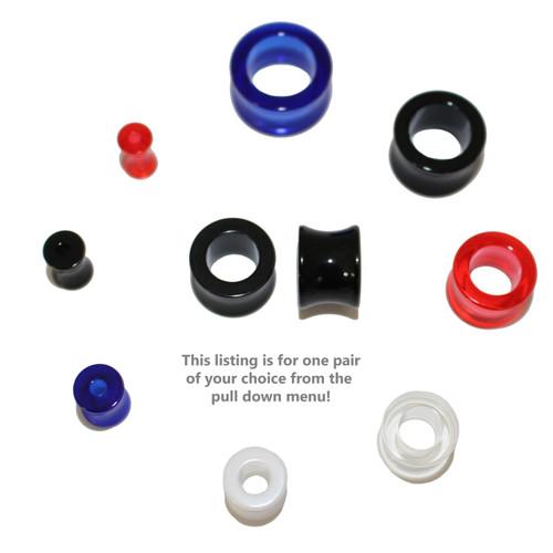 "Lex & Lu Pair of Acrylic Double Flared Tunnel Ear Plug Gauges 6 Gauge Thru 5/8""-Lex & Lu"