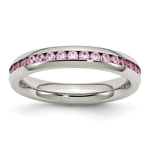 Lex & Lu Chisel Stainless Steel 4mm October Pink CZ Ring - Lex & Lu