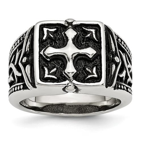 Lex & Lu Chisel Stainless Steel Antiqued Cross Ring - Lex & Lu
