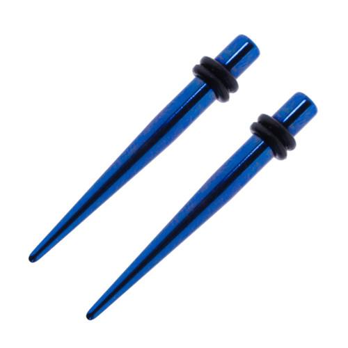 Lex & Lu Pair of Plated Steel Taper Expander Strecher Plug Gauges w/O-Rings 10G-2G-2-Lex & Lu